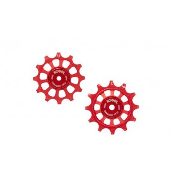 12/12T PULLEY SET FOR SHIM 11 - ROAD FULL CERAMIC (RED)